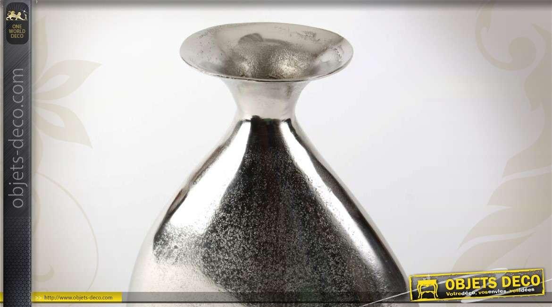 vase en aluminium argent effet grains de sable. Black Bedroom Furniture Sets. Home Design Ideas