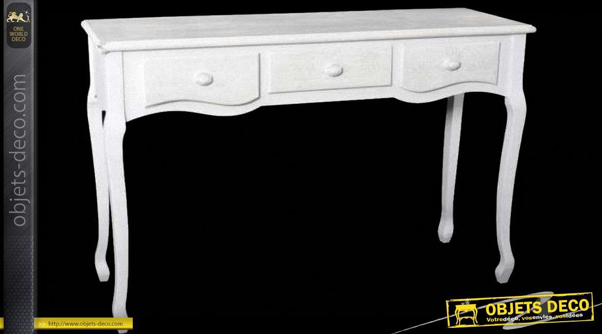 console blanche 3 tiroirs style meuble de charme. Black Bedroom Furniture Sets. Home Design Ideas
