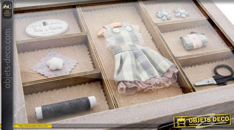 bo te couture en bois coloris gris avec couvercle vitrine. Black Bedroom Furniture Sets. Home Design Ideas