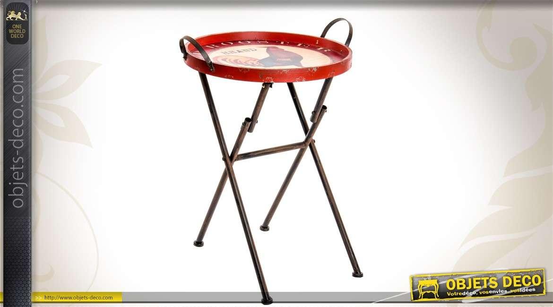 table d 39 appoint en m tal coloris rouge. Black Bedroom Furniture Sets. Home Design Ideas