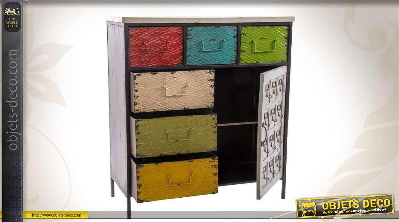 commode m tallique multicolore 6 tiroirs et 1 porte. Black Bedroom Furniture Sets. Home Design Ideas