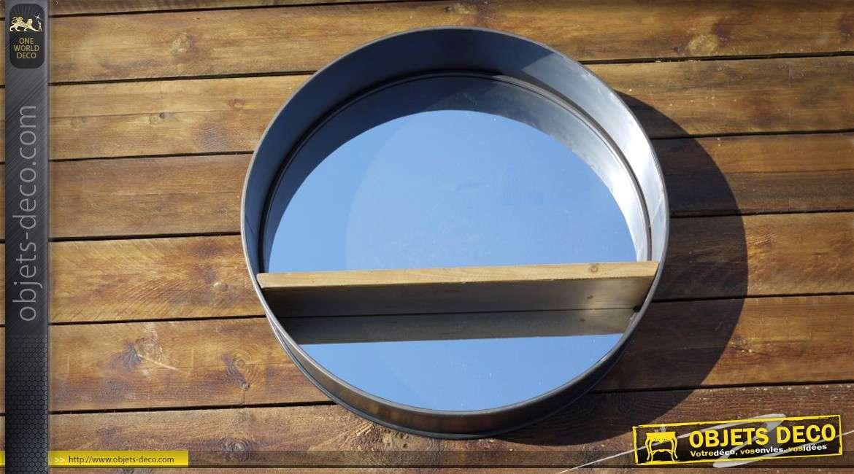 Grand miroir rond Ø 80 cm rétro et industriel bois et métal