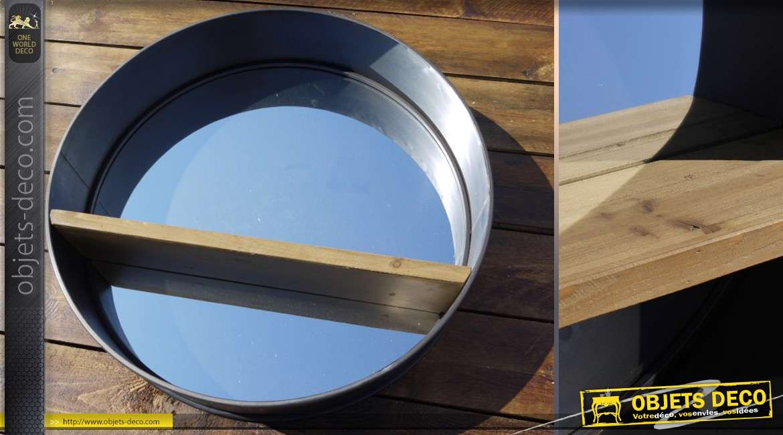 grand miroir rond 80 cm r tro et industriel bois et m tal. Black Bedroom Furniture Sets. Home Design Ideas
