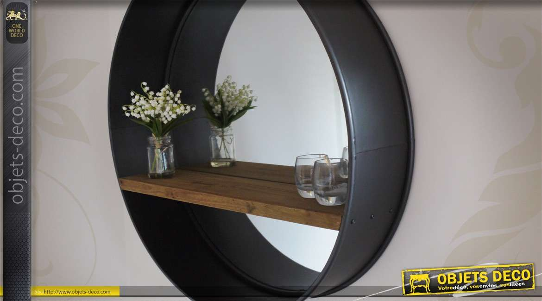 Grand miroir rond 80 cm r tro et industriel bois et m tal for Grand miroir original