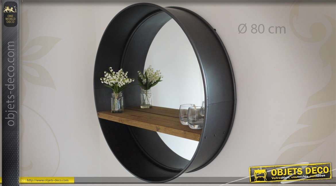 grand miroir rond 80 cm r tro et industriel bois et m tal. Black Bedroom Furniture Sets. Home Design Ideas