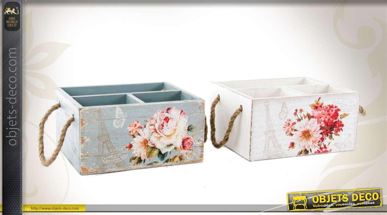 s rie de 2 bo tes de rangement en bois avec motifs de fleurs. Black Bedroom Furniture Sets. Home Design Ideas