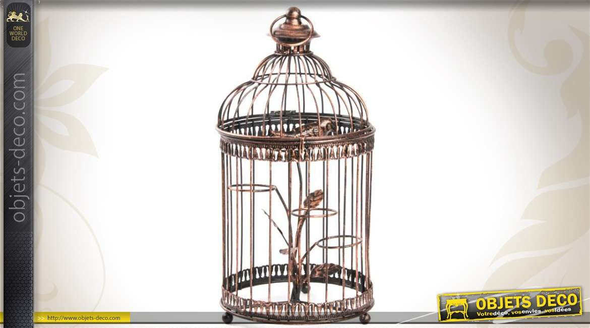 Cage oiseaux ronde finition cuivr e 3 supports photophores for Cages a oiseaux decoratives