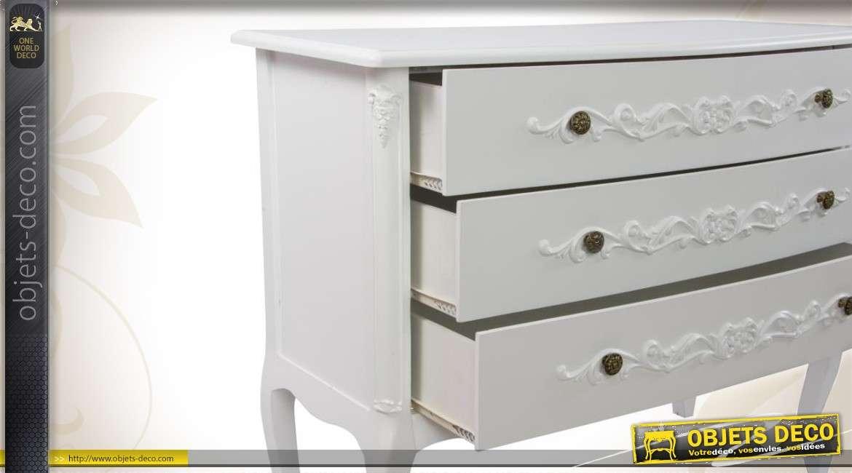 commode blanche en bois style gustavien. Black Bedroom Furniture Sets. Home Design Ideas