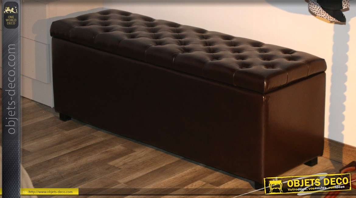 banquette coffre en similicuir marron capitonn. Black Bedroom Furniture Sets. Home Design Ideas