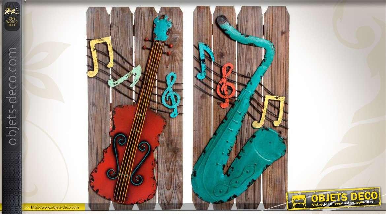 2 Décorations Murales Bois Et Métal Guitare Et Trompette 70 Cm