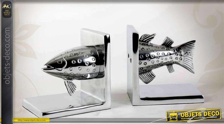 Serre livres en aluminium argent brillant en forme de poisson for Objet deco argente