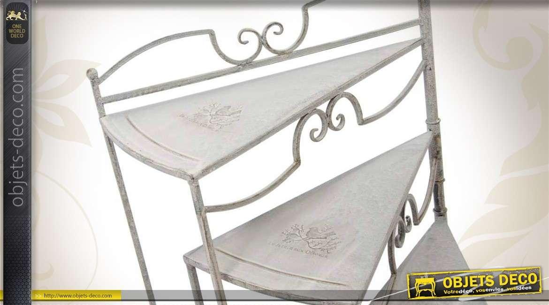 Etag re escalier porte plantes coloris gris antique - Etageres plantes exterieur jardiland ...
