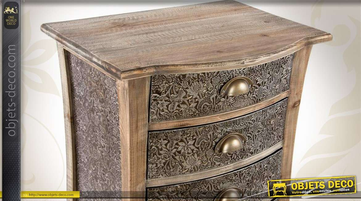 chiffonnier 6 tiroirs bois et m tal dor emboss. Black Bedroom Furniture Sets. Home Design Ideas