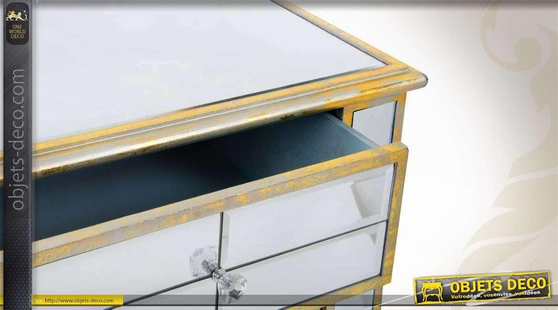 table de chevet style v nitien miroirs biseaut s 1 porte 1 tiroir. Black Bedroom Furniture Sets. Home Design Ideas