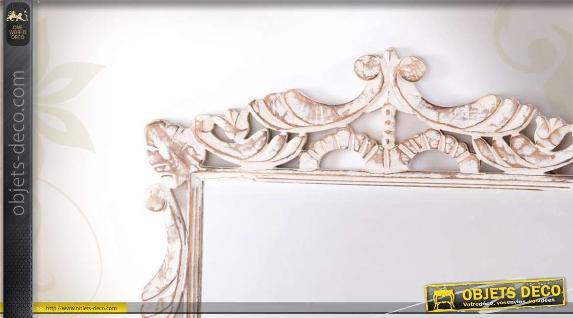 Grand miroir blanc de style baroque en bois sculpt blanchi for Grand miroir blanc baroque