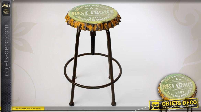 Tabouret style industriel assise en forme de capsule de bi re - Capsule de biere deco ...