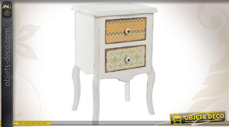 Blanche Colorés Table Ethna Collection 2 Tiroirs À De Chevet N8kXP0wnO