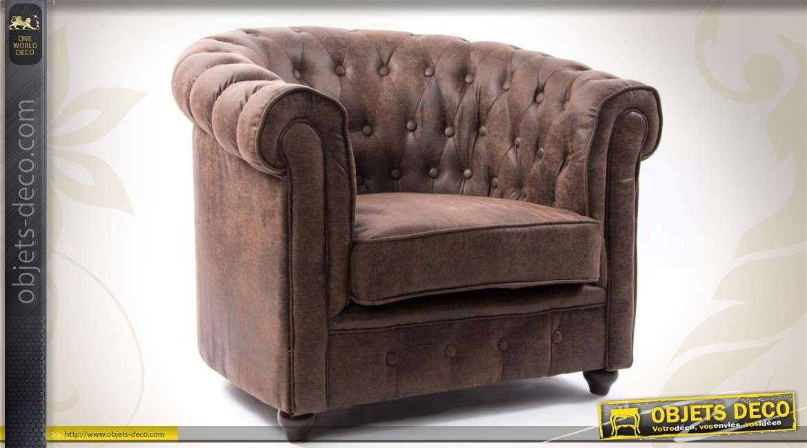 fauteuil club en microfibre marron et dossier capitonn. Black Bedroom Furniture Sets. Home Design Ideas