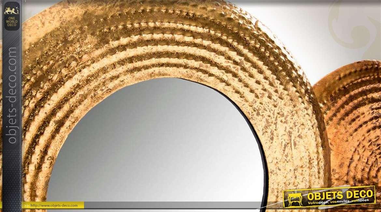 d coration miroir art d co m tal martel cuivr 110 cm. Black Bedroom Furniture Sets. Home Design Ideas