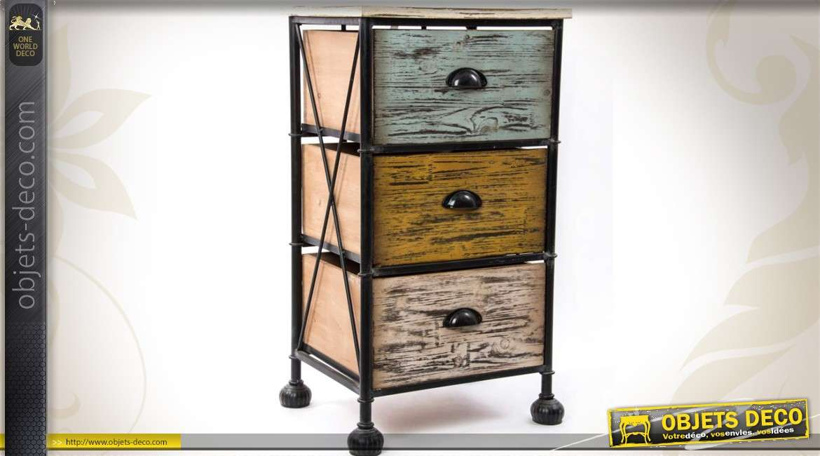 chiffonnier 3 tiroirs bois et m tal style r tro et industriel. Black Bedroom Furniture Sets. Home Design Ideas