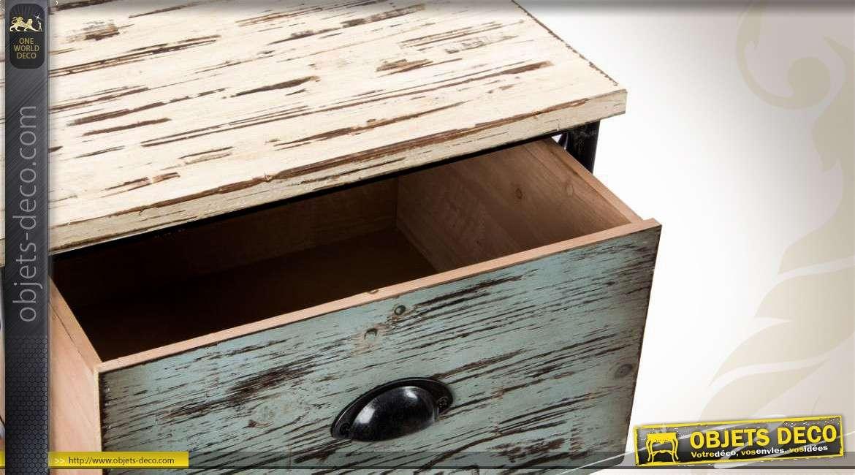 Chiffonnier 3 tiroirs bois et m tal style r tro et for Semainier industriel