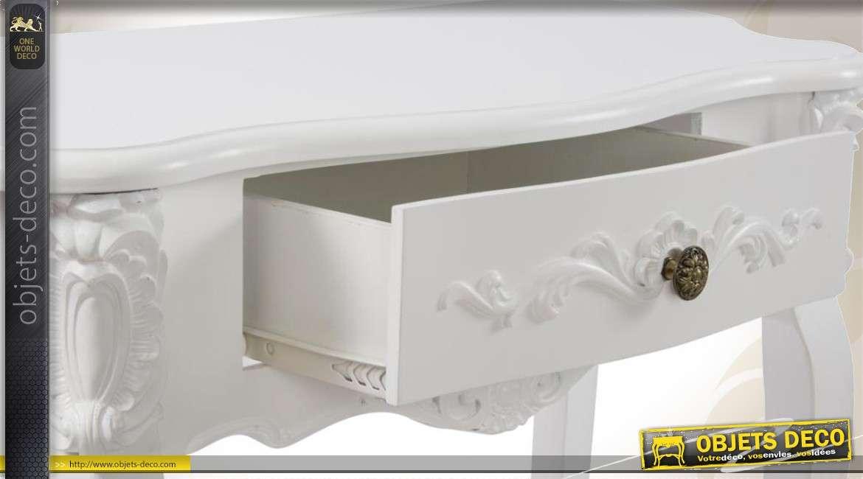 console blanche en bois de style romantique avec 1 tiroir. Black Bedroom Furniture Sets. Home Design Ideas