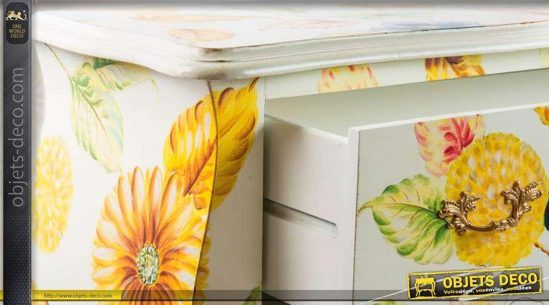 commode blanche en bois 2 tiroirs et d coration florale. Black Bedroom Furniture Sets. Home Design Ideas