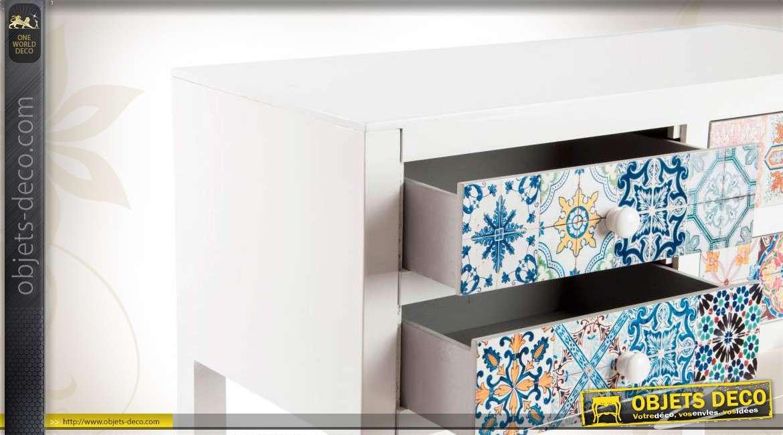 console en bois couleur blanche avec 4 tiroirs color s. Black Bedroom Furniture Sets. Home Design Ideas