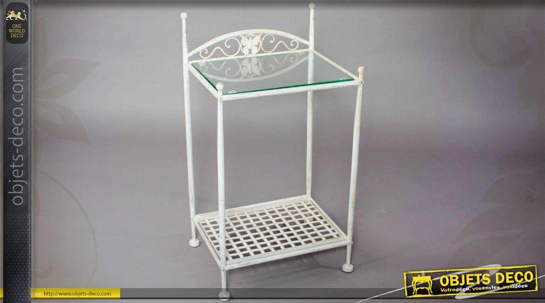 Table De Chevet Blanche Style Fer Forgé Avec Plateau Verre