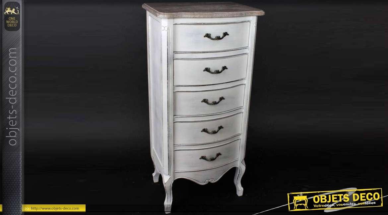 Chiffonnier 5 tiroirs style louis xv blanc antique et bois veilli - Chiffonnier blanc 5 tiroirs ...