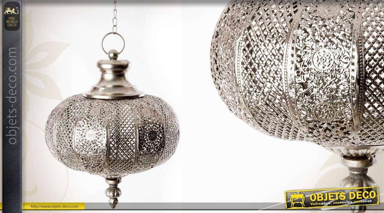 lanterne suspendue de style oriental en m tal argent et. Black Bedroom Furniture Sets. Home Design Ideas