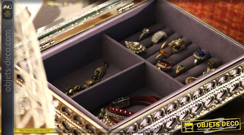 coffret bijoux de luxe en m tal argent et verre style oriental. Black Bedroom Furniture Sets. Home Design Ideas