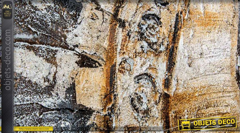 Diptyque peint la main avec relief 200 x 100 t te de for Tete de bouddha deco