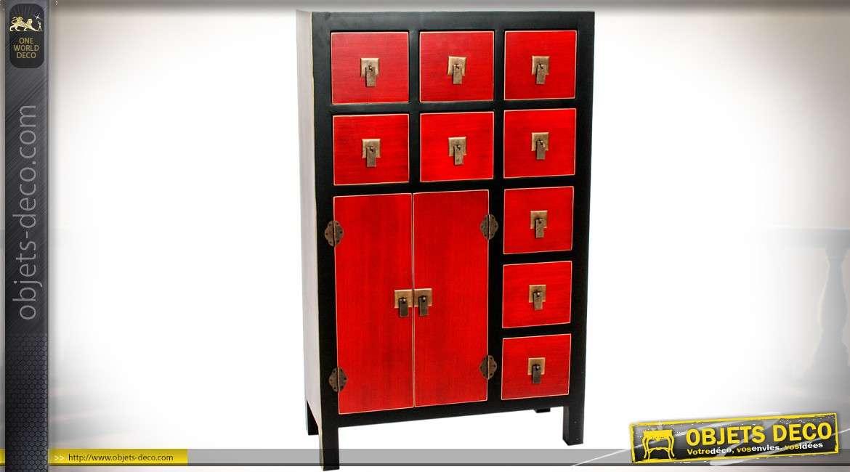 buffet commode 9 tiroirs 2 portes coloris rouge et noir de style meuble japonais. Black Bedroom Furniture Sets. Home Design Ideas