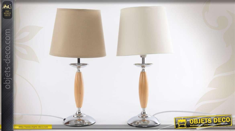 ensemble de 2 lampes de chevet en bois et en m tal 2 couleurs. Black Bedroom Furniture Sets. Home Design Ideas