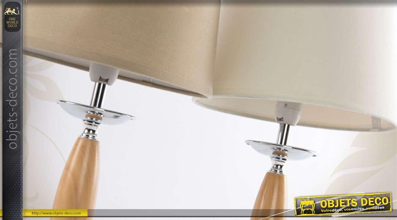 Ensemble de 2 lampes de chevet en bois et en m tal 2 couleurs - Lampe de chevet metal ...