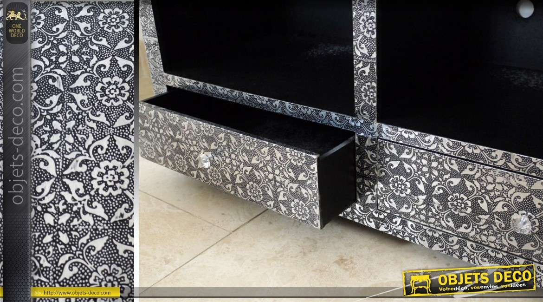 meuble tv de style oriental noir et argent avec 2 tiroirs. Black Bedroom Furniture Sets. Home Design Ideas