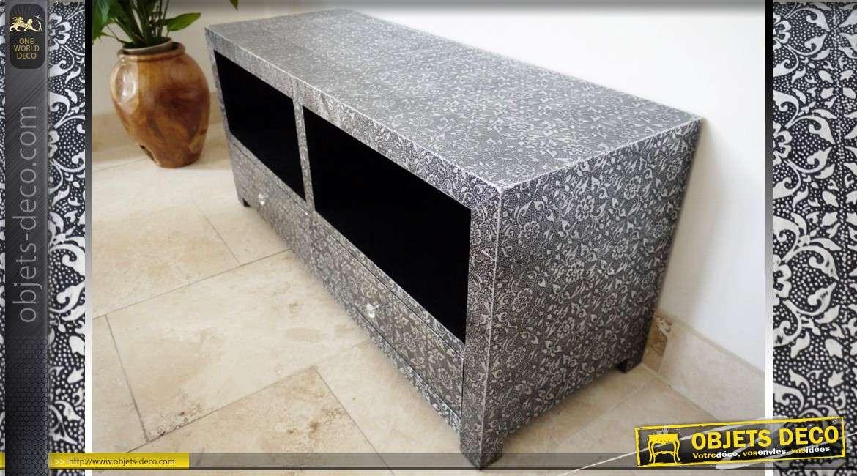 meuble tv de style oriental noir et argent avec 2 tiroirs