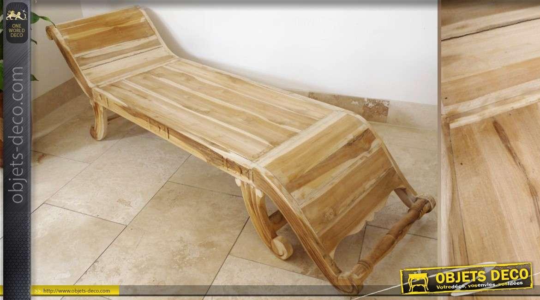 chaise longue en teck sans finition 180 cm. Black Bedroom Furniture Sets. Home Design Ideas