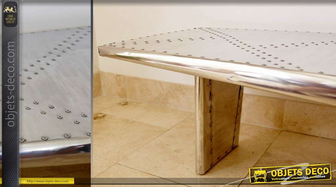 En Finition D'aile Aviator Basse Forme D'avion Table Argentée qUMjLVpzGS