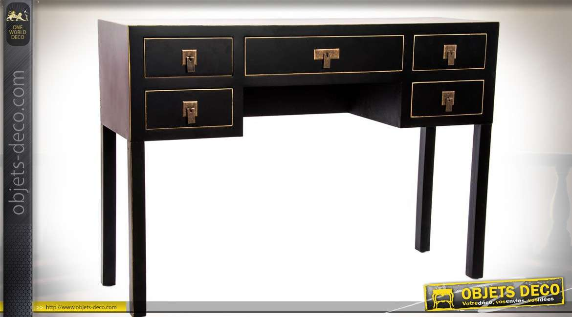 bureau secr taire en bois noir et dor de style meubles japonais 110 cm. Black Bedroom Furniture Sets. Home Design Ideas