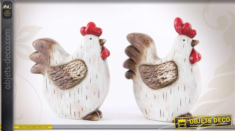 Duo de poules d coratives en c ramique blanche peinte 20 cm for Objet deco animaux