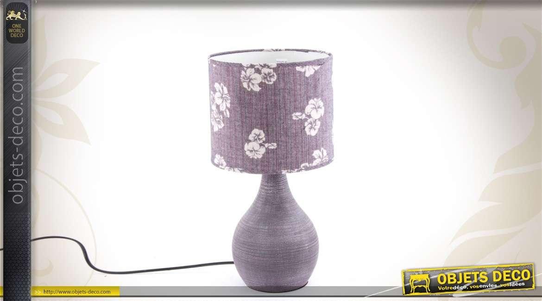 Lampe de table en c ramique coloris violet for Objet deco violet