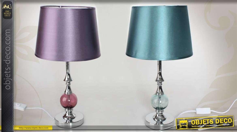Duo de lampes de table en m tal et verre coloris violet et for Objet deco violet