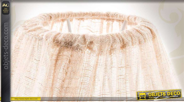 lampe de table romantique avec abat jour en tissu beige. Black Bedroom Furniture Sets. Home Design Ideas