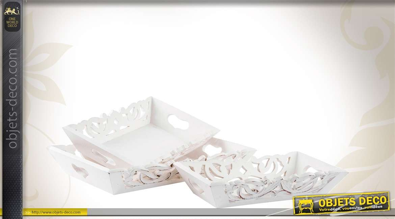 Ensemble de 3 plateaux blancs en bois de style romantique