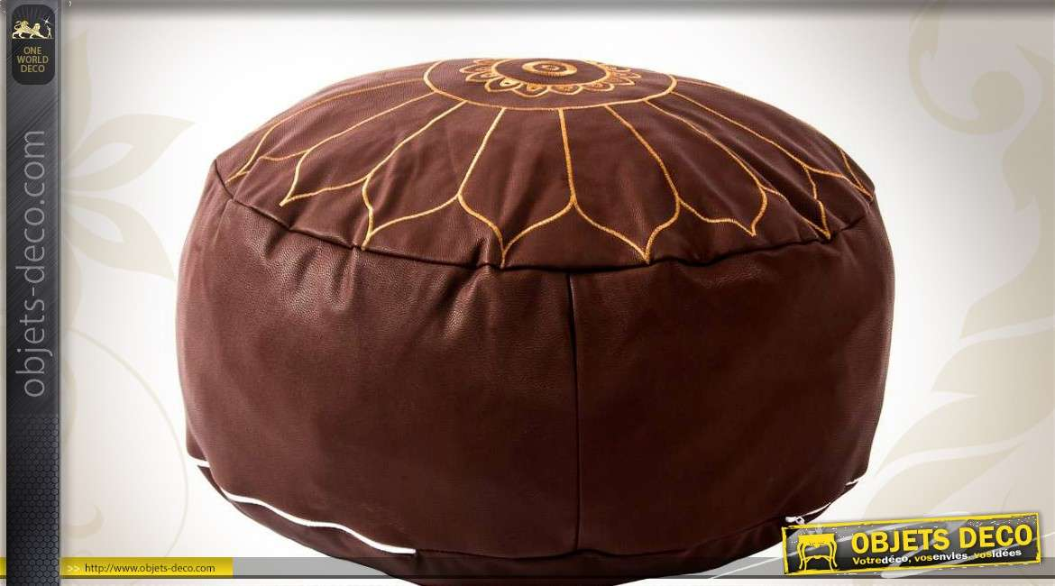 pouf repose pied de style oriental simili cuir marron. Black Bedroom Furniture Sets. Home Design Ideas