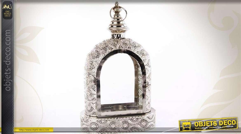 lanterne orientale m tal argent en forme d 39 arcade 40 cm. Black Bedroom Furniture Sets. Home Design Ideas