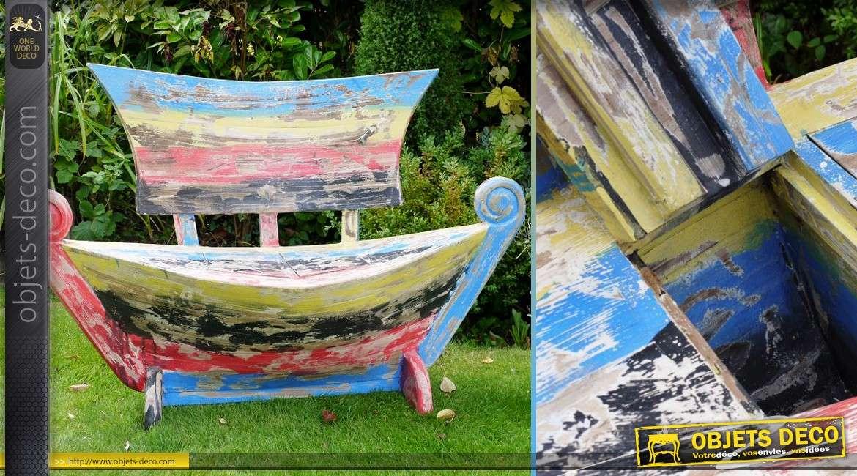 banc bateau en bois massif avec finition r tro multicolore. Black Bedroom Furniture Sets. Home Design Ideas