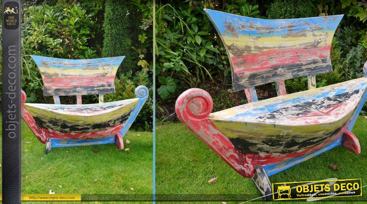 banc bateau en bois massif avec finition r tro multicolore. Black Bedroom Furniture Sets. Home Design Ideas